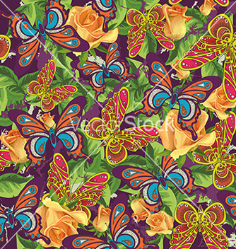 Free beautiful pattern with butterflies and roses vector - Kostenloses vector #234685