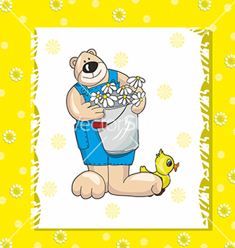 Free baby card with teddy bear on a yellow background vector - vector gratuit #234695