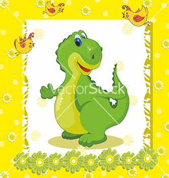 Free baby card with a dinosaur on a yellow background vector - Free vector #234705