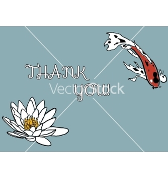 Free thank you card with koi carp and water lily vector - vector gratuit #234765