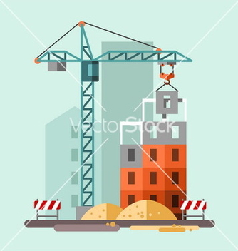 Free construction site building a house vector - Free vector #234975