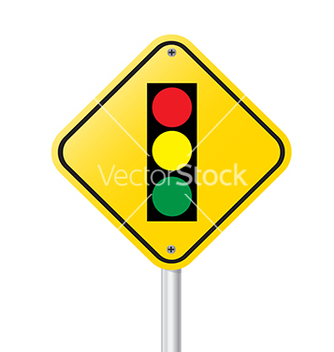 Free traffic light over yellow sign vector - Free vector #234985