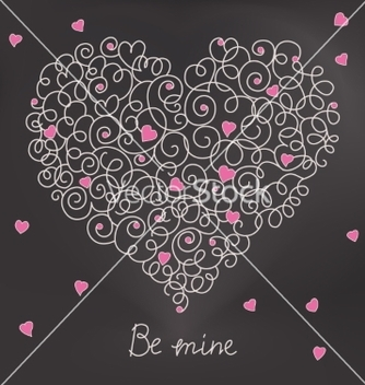 Free greeting card with floral heart shape be mine vector - vector gratuit #235025