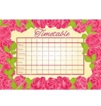 Free timetable weekly schedule with pink roses vector - vector gratuit #235225