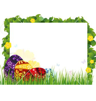 Free painted eggs in the grass vector - vector gratuit #235335