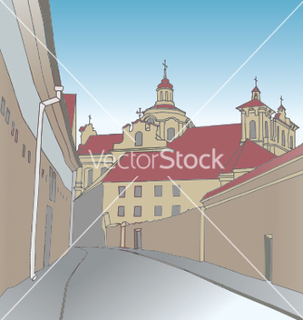 Free old town scene with catholic church vector - бесплатный vector #235725