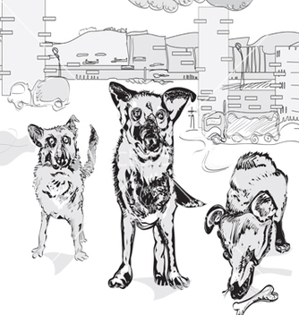 Free dogs in the city vector - бесплатный vector #235835