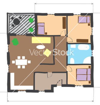 Free floor plan of house colored doodle style vector - бесплатный vector #235855
