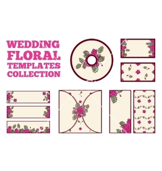 Free wedding floral template collection vector - vector gratuit #235875