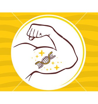 Free strong man hand with icon of dna molecul vector - Free vector #236115
