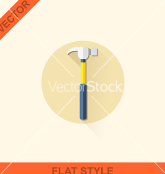 Free hammer in a flat style with shadow vector - vector gratuit #236155