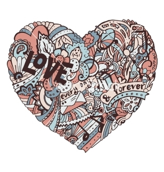 Free doodle colorful heart with ornate otnament vector - Free vector #236195