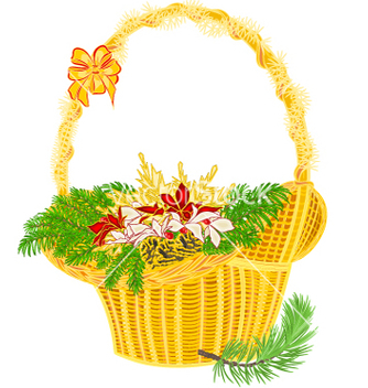 Free christmas decoration basket with branches vector - бесплатный vector #236405