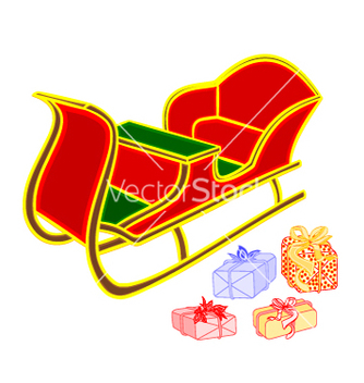 Free santa sleigh and gifts happy xmas vector - vector gratuit #236425