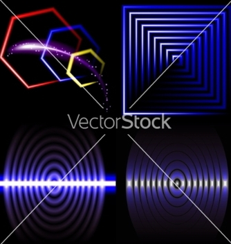 Free set of beautifully glowing neon abstract vector - vector #236715 gratis