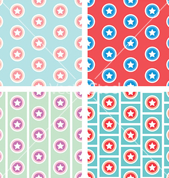 Free star in circle seamless pattern background vector - Free vector #236885