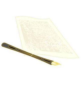Free golden pen and the manuscript vector - vector gratuit #236915