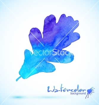 Free blue watercolor painted oak leaf vector - Kostenloses vector #236925