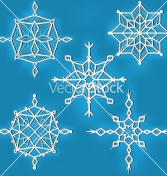 Free set of ornate snowflakes against blue background vector - Free vector #237055