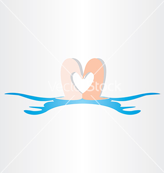 Free swans in water love symbol vector - Free vector #237235