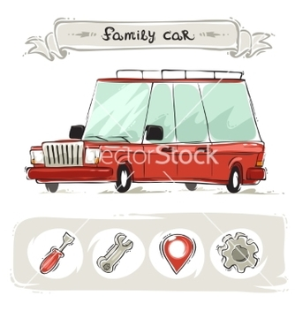 Free cartoon family old car set vector - Kostenloses vector #237345