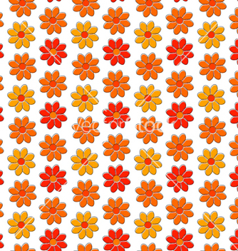Free seamless pattern with yellow and red camomiles vector - Free vector #237795