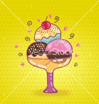Free cute cartoon ice cream vector - Free vector #237875