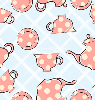 Free seamless pattern with cups and teapot vector - Free vector #237885
