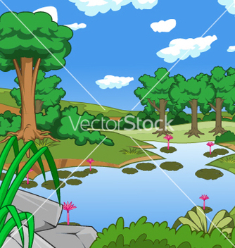 Free forest tree and pond vector - бесплатный vector #237925