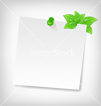 Free blank note paper with green leaves and space for vector - бесплатный vector #238215