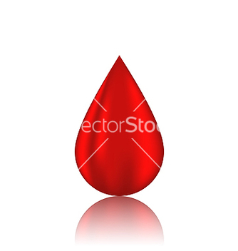 Free red blood drop with reflection isolated on white vector - vector gratuit #238235