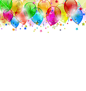 Free set party balloons confetti with space for text vector - vector gratuit #238405