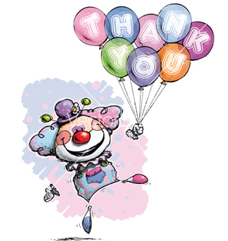 Free clown with balloons saying thank you baby colors vector - vector gratuit #238475