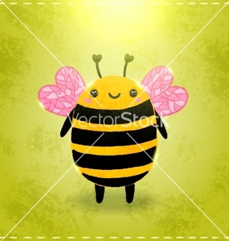 Free valentines day greeting card with bee vector - vector gratuit #238485