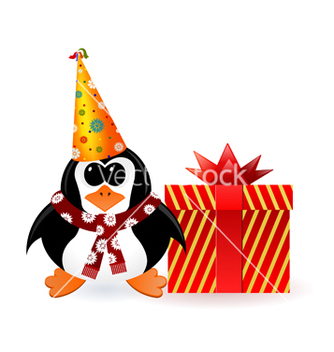 Free cheerful penguin with a gift on new year vector - Kostenloses vector #238575
