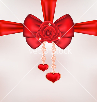 Free red bow with rose heart pearls for card valentine vector - vector gratuit #238685