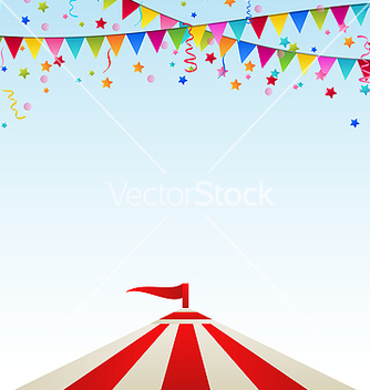 Free circus striped tent with flags vector - vector gratuit #238695