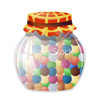 Free glass jar with round sweets vector - Kostenloses vector #238765