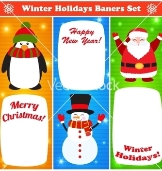 Free greeting christmas and new year baners set vector - vector gratuit #239105
