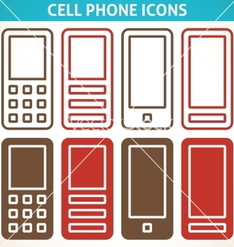 Free cellphone and smartphone abstract icons vector - vector #239145 gratis