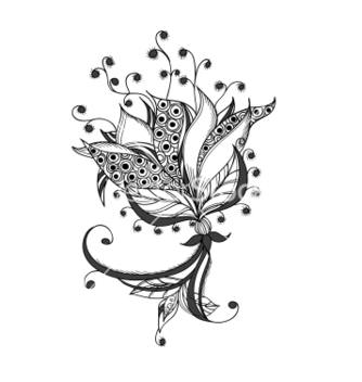 Free fantasy flower black and white tattoo pattern vector - Kostenloses vector #241615
