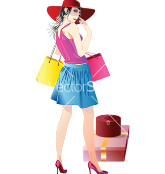 Free shopping girl vector - vector gratuit #242445