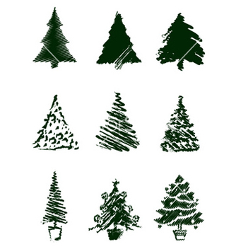 Free christmas tree sketches vector - Free vector #242625