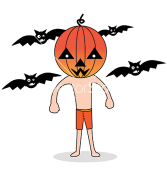 Free cute halloween character pumpkin vector - бесплатный vector #242635