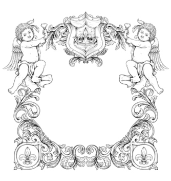 Free victorian frame with angels vector - Free vector #243095