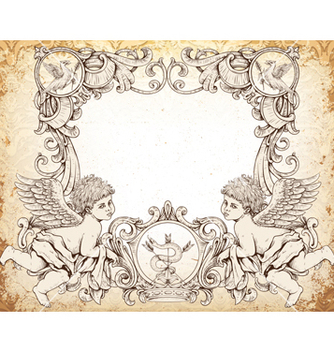 Free victorian frame with angels vector - vector gratuit #243115