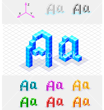 Free isometric font from the cubes letter a vector - Free vector #243835