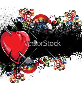 Free heart with grunge and floral vector - Free vector #244195