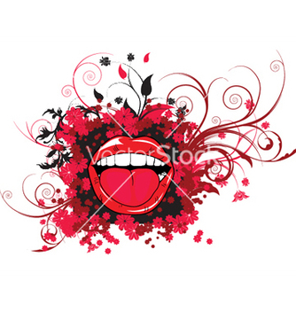 Free mouth with floral vector - Kostenloses vector #244615
