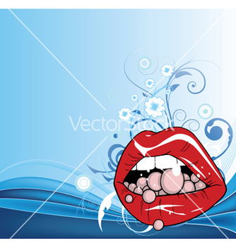 Free lips with floral vector - vector gratuit #245425